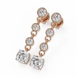 3 ctw Cushion Cut Diamond Earrings 18K Rose Gold