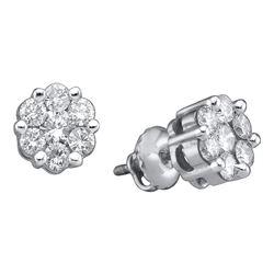 14k White Gold Round Diamond Flower Cluster Stud Earrings 1.00 Cttw