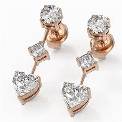 1.85 ctw Heart Diamond Designer Earrings 18K Rose Gold