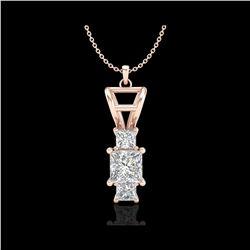 1.54 ctw Princess VS/SI Diamond Art Deco Necklace 18K Rose Gold