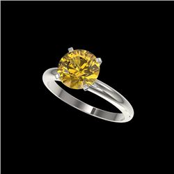 2.50 ctw Certified Intense Yellow Diamond Solitaire Ring 10K White Gold