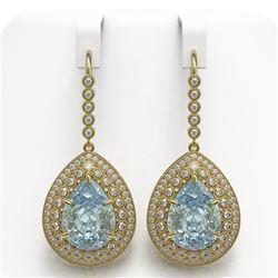 35.24 ctw Sky Topaz & Diamond Victorian Earrings 14K Yellow Gold
