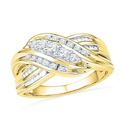 10kt Yellow Gold Round Diamond 5-Stone Crossover Band Ring 1/2 Cttw