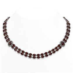 63.15 ctw Garnet & Diamond Necklace 14K White Gold
