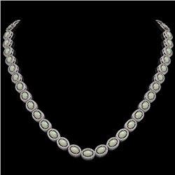 21.21 ctw Opal & Diamond Micro Pave Halo Necklace 10K White Gold