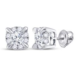 14kt White Gold Round Diamond Halo Solitaire Earrings 1/4 Cttw