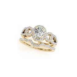 1.55 ctw Certified VS/SI Diamond 2pc Wedding Set Halo 14K Yellow Gold