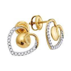 10kt Yellow Gold Round Diamond Heart Screwback Earrings 1/4 Cttw