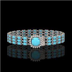 22.19 ctw Turquoise & Diamond Bracelet 14K White Gold
