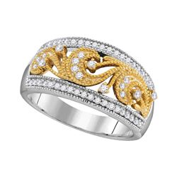 10kt Two-tone Gold Round Diamond 2-tone Filigree Band Ring 1/3 Cttw