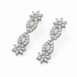 9.56 ctw Mix Cut Diamonds Designer Earrings 18K White Gold