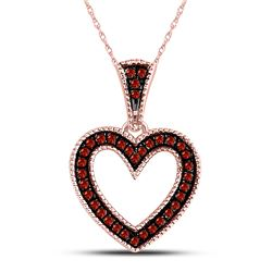 10kt Rose Gold Round Red Color Enhanced Diamond Heart Pendant 1/10 Cttw