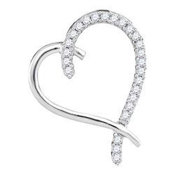 10kt White Gold Round Diamond Segmented Heart Outline Pendant 1/6 Cttw