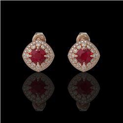4.99 ctw Certified Ruby & Diamond Victorian Earrings 14K Rose Gold