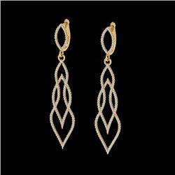 1.90 ctw Micro Pave VS/SI Diamond Certified Earrings 14K Yellow Gold