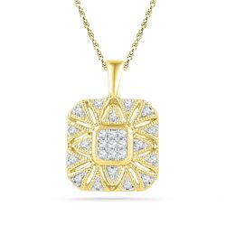 10kt Yellow Gold Round Diamond Square Cluster Pendant 1/6 Cttw