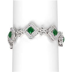 23.71 ctw Emerald & Diamond Bracelet 18K White Gold