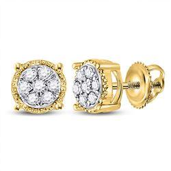 10kt Yellow Gold Round Diamond Flower Cluster Stud Earrings 1/6 Cttw