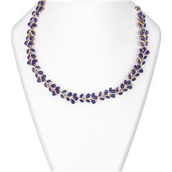 121.83 ctw Sapphire & Diamond Necklace 18K Rose Gold