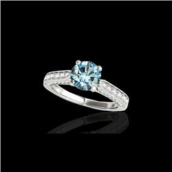1.6 ctw SI Certified Fancy Blue Diamond Solitaire Ring 10K White Gold