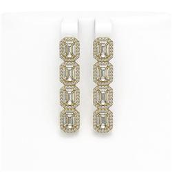 6.08 ctw Emerald Cut Diamond Micro Pave Earrings 18K Yellow Gold