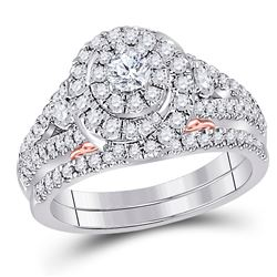 14kt Two-tone Gold Round Diamond Bridal Wedding Engagement Ring Band Set 1-1/5 Cttw