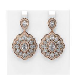 13.6 ctw Oval Diamond Earrings 18K Rose Gold