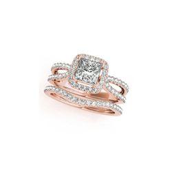 1.02 ctw Certified VS/SI Princess Diamond 2pc Set Ring Halo 14K Rose Gold