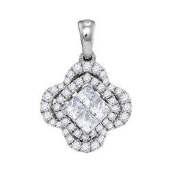 14kt White Gold Princess Diamond Cluster Pendant 3/4 Cttw