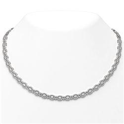 21 ctw Oval Cut Diamond Designer Necklace 18K White Gold