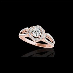 1.43 ctw Certified Diamond Solitaire Halo Ring 10K Rose Gold