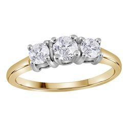 14kt Yellow Gold Round Diamond 3-stone Bridal Wedding Engagement Ring 3/4 Cttw