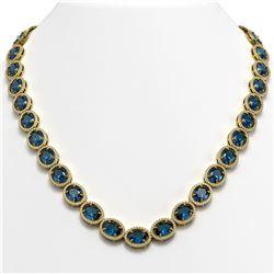 68.17 ctw London Topaz & Diamond Micro Pave Halo Necklace 10K Yellow Gold