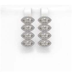 5.92 ctw Marquise Cut Diamond Micro Pave Earrings 18K White Gold