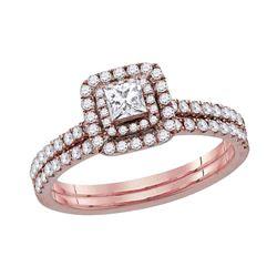 10kt Rose Gold Princess Diamond Bridal Wedding Engagement Ring Band Set 3/4 Cttw