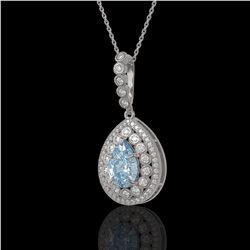 3.77 ctw Aquamarine & Diamond Victorian Necklace 14K White Gold