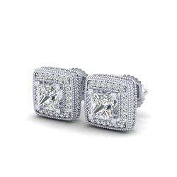 2.01 ctw Princess VS/SI Diamond Art Deco Earrings 18K White Gold