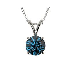 .73 ctw Certified Intense Blue Diamond Necklace 10K White Gold