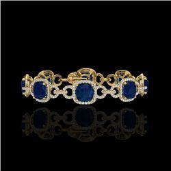 25 ctw Sapphire & Micro VS/SI Diamond Bracelet 14K Yellow Gold