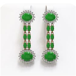 10.72 ctw Jade & Diamond Earrings 14K Rose Gold