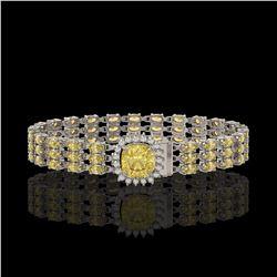 25.15 ctw Citrine & Diamond Bracelet 14K White Gold