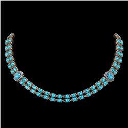 39.28 ctw Swiss Topaz & Diamond Necklace 14K Rose Gold