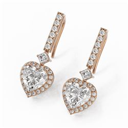 4.25 ctw Heart Diamond Designer Earrings 18K Rose Gold