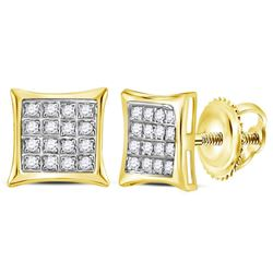 10kt Yellow Gold Round Diamond Square Kite Cluster Stud Earrings 1/10 Cttw