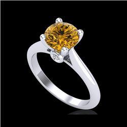 1.6 ctw Intense Fancy Yellow Diamond Art Deco Ring 18K White Gold