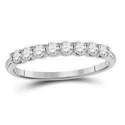 14kt White Gold Round Diamond Classic Anniversary Band Ring 1/2 Cttw
