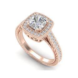1.77 ctw Cushion VS/SI Diamond Solitaire Art Deco Ring 18K Rose Gold