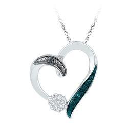 10kt White Gold Round Diamond Cluster Heart Pendant 1/20 Cttw