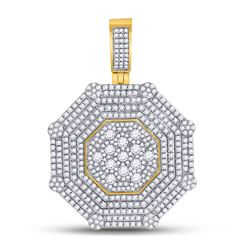 10kt Yellow Gold Mens Round Diamond Octagon Cluster Charm Pendant 3-7/8 Cttw