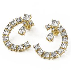 8.34 ctw Princess Diamond Designer Earrings 18K Yellow Gold